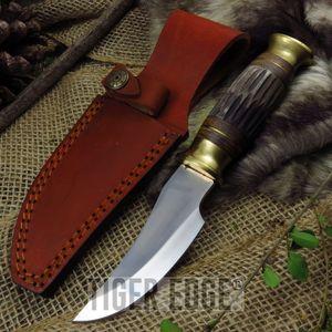 FIXED-BLADE HUNTING KNIFE | Brown Bone Full Tang Silver Skinning Blade + Sheath