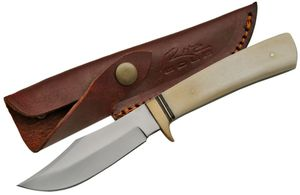 FIXED-BLADE HUNTING KNIFE | Bowie Upswept Blade Skinner Bone Handle Full Tang