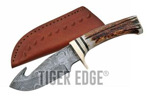 Damascus Steel Gut Hook Skinning Hunter Knife | 9