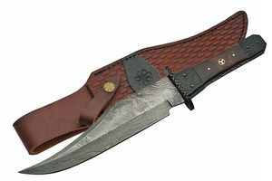 Bowie Knife | Damascus Steel Blade Bone Handle Full Tang Hunter 13.75