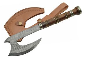 Genuine Damascus Steel & Rose Wood Bearded Viking Hatchet Battle Axe, Sheath