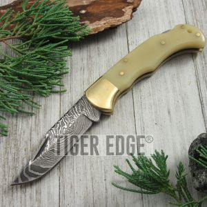 FOLDING POCKET KNIFE | Damascus Steel Blade Filework Spine Bone Handle Lockback