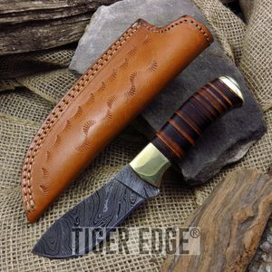 Fixed-Blade Hunting Knife Damascus Steel Stacked Leather Handle Skinner Dm-1125