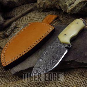 Fixed Blade Hunting Knife   Damascus Steel Blade Genuine Bone Handle Skinner