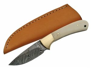 Fixed Blade Hunting Knife | Damascus Steel Blade Real Bone Brass Handle Skinner