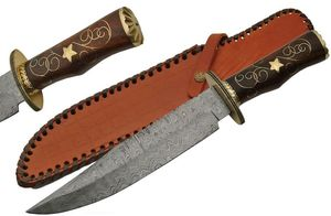 FIXED BLADE BOWIE KNIFE | Damascus Steel Blade Rosewood Handle Brass Star