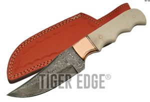 Damascus Steel Blade Hunting Knife Bone Copper Handle Full Tang + Leather Sheath