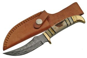 Fixed-Blade Hunting Knife Damascus Steel Upswept Blade Skinner Stag Bone Handle