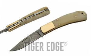 Damascus Steel Blade Folding Knife | White Bone Brass Classic Lockback