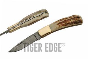Damascus Steel Blade Folding Pocket Knife   4