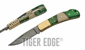 Damascus Steel Blade Folding Knife | Green Wood White Bone Classic Lockback