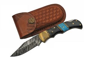 Damascus Steel Manual Folding Knife | Genuine Horn & Turquoise Folder Dm-1215