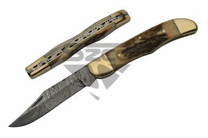 Damascus Steel Manual Folding Knife | Genuine Stag Antler Filework Edc Dm-1223Sg