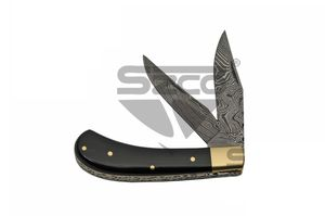 Damascus Steel Manual Folding Knife | Black Horn 2 Blade Trapper Edc Dm-1224Hn
