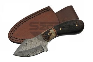 Damascus Steel Knife | Genuine Stag & Black Wood Handle Hunting Skinner Dm-1229