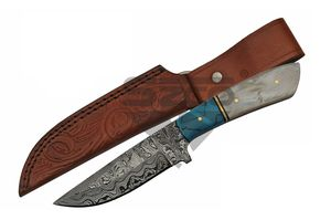 Damascus Steel Hunting Knife | Ladder Pattern Pearl & Turquoise-Color Dm-1230