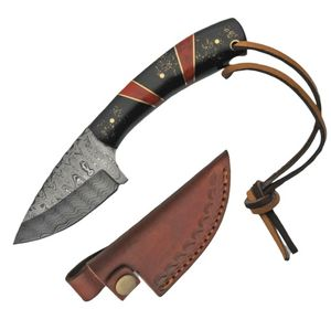Hunting Knife | Damascus Steel Blade Black/Red Handle + Leather Sheath