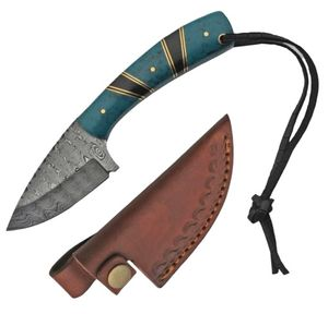 Hunting Knife | Damascus Steel Blade Turquoise Handle + Leather Sheath