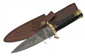 Damascus Steel Knife | Genuine Black Horn Medieval Dagger Black Brass Dm-1236Bk