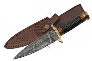 Damascus Steel Knife | Genuine Black Horn Medieval Dagger Orange Brass Dm-1236Or