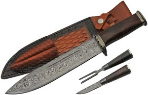 Bowie Knife Set | Damascus Steel Blade Wild West Cowboy Mess Kit Leather Sheath
