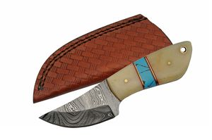 Hunting Knife | Damascus Blade White Bone/Turquoise Full Tang Skinner + Sheath