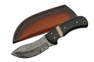 Hunting Knife Damascus Steel Upswept Blade Black Wood Full Tang Skinner + Sheath