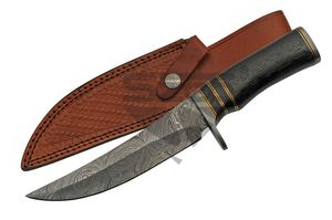 Bowie Knife | Damascus Steel Upswept Blade 11.75