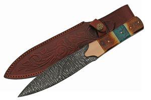 Dagger | Damascus Steel Spearhead Blade Full Tang Bone/Turquoise Handle + Sheath