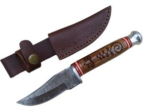 Hunting Knife | Damascus Steel Blade Bowie Flower Wood Handle Leather Sheath