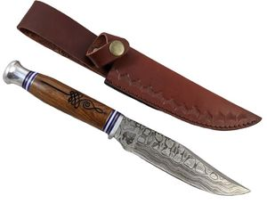 Hunting Knife Damascus Steel Blade Bowie Music Note Wood Handle Leather Sheath 6