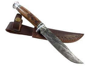 Hunting Knife Damascus Steel Blade Bowie Music Note Wood Handle Leather Sheath 7