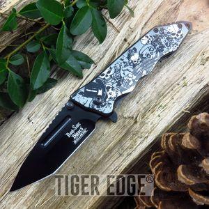 Dark Side Blades Gray Skull Fantasy Tanto Spring Assist Folding Knife