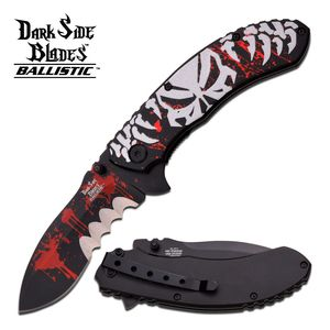 Dark Side Blades Silver Demon Spring Assisted Folding Knife Large Serration