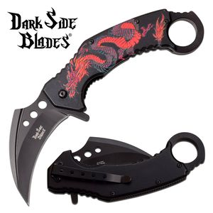 Spring-Assist Folding Knife | Black Red Dragon Karambit Tactical DS-A076BRD