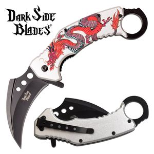 Spring-Assist Folding Knife | Silver Red Dragon Karambit Tactical DS-A076SRD