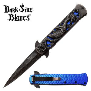 Spring-Assist Folding Knife | Dark Side Blue Dragon Tactical Thrones DS-A081BL
