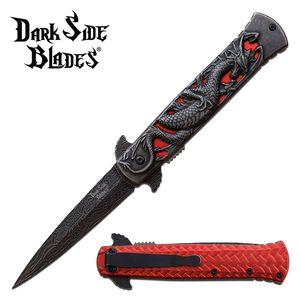 Spring-Assist Folding Knife | Dark Side Red Dragon Tactical Thrones DS-A081RD