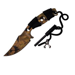 Elk Ridge Pro Fixed-Blade Hunter Camo Survival Knife W/ Sheath, Fire Starter