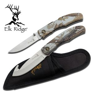 Elk Ridge Woodland Camo Deer Hunter Folding And Guthook Knife Skinner Set
