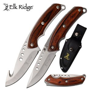 Hunting Knife Set | Elk Ridge Fixed-Blade Gut Hook + Folder Brown Wood + Sheath