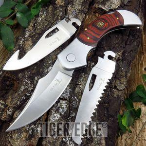 Elk Ridge Brown Wood Interchangeable Blade Hunter Folding Knife w/ Sheath