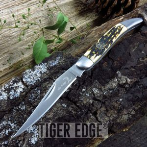 Elk Ridge Stag Bone Handle Texas Toothpick Folding Knife