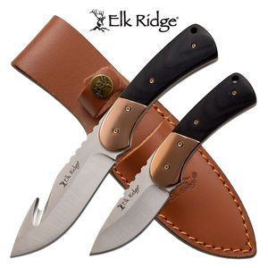 Hunting Knife Set | Elk Ridge 2 Pc. Full Tang Black Wood Handle Gut Hook Skinner