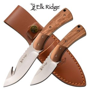 Hunting Knife Set | Elk Ridge 2 Pc. Full Tang Brown Wood Handle Gut Hook Skinner