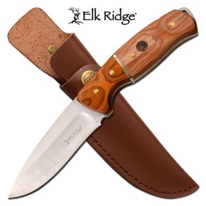 Hunting Knife Elk Ridge Drop Point Blade Wood Handle Full Tang + Leather Sheath