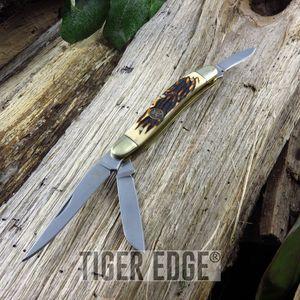 Elk Ridge 3-Blade Stag Bone Handle Trapper Folding Pocket Pen Knife