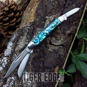 Elk Ridge 3-Blade Blue/Green Resin Handle Trapper Folding Pocket Pen Knife