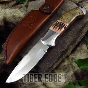 Fixed-Blade Hunting Knife | Elk Ridge Ox Bone Wood Full Tang Skinner Blade