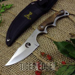 Elk Ridge Laser Cut Blade, Burlwood Handle Hunting Skinning Knife W/ Sheath